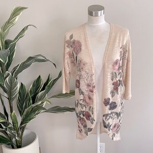 Floral long cardigan light size medium